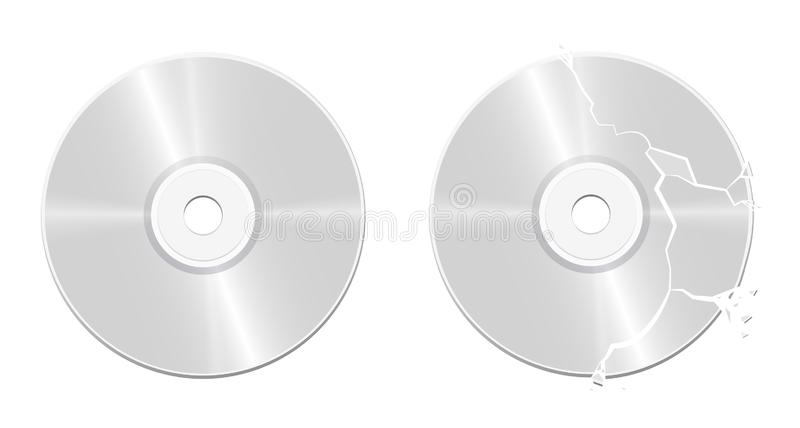 Bruten skadad intakt CD Compact Disc stock illustrationer