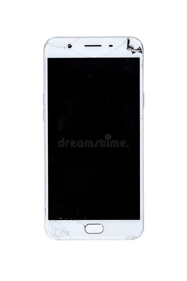 Bruten smart telefon med den spruckna skärmen royaltyfria bilder