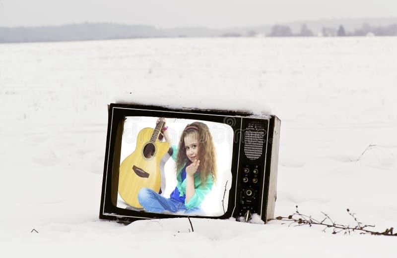 Bruten tv royaltyfria foton