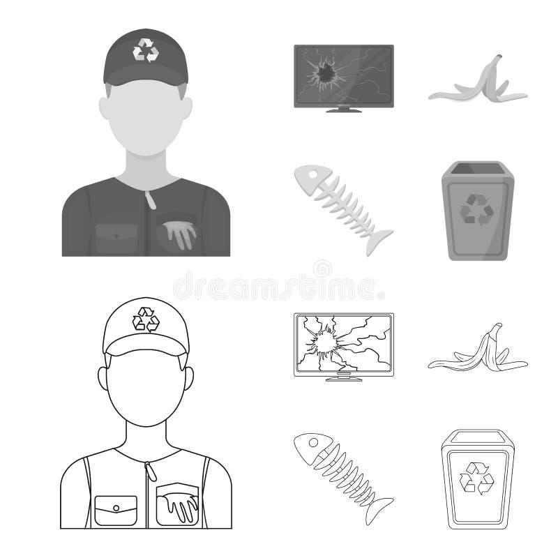 Bruten TVbildskärm, bananpeel, fiskskelett, avskrädefack Fastställda samlingssymboler för avskräde och för avfall i översikten, m royaltyfri illustrationer