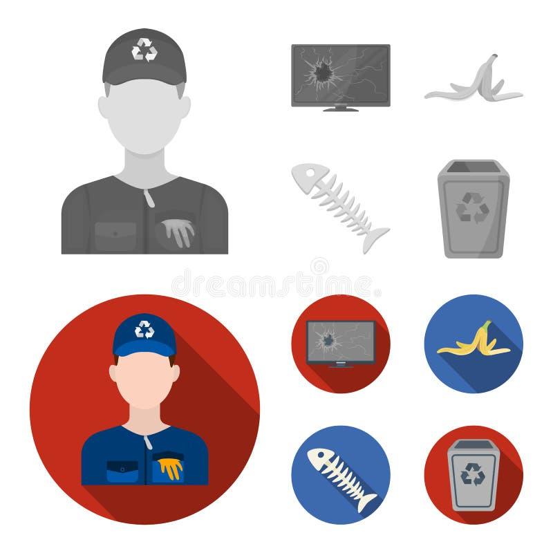 Bruten TVbildskärm, bananpeel, fiskskelett, avskrädefack Fastställda samlingssymboler för avskräde och för avfall i monokrom, läg royaltyfri illustrationer