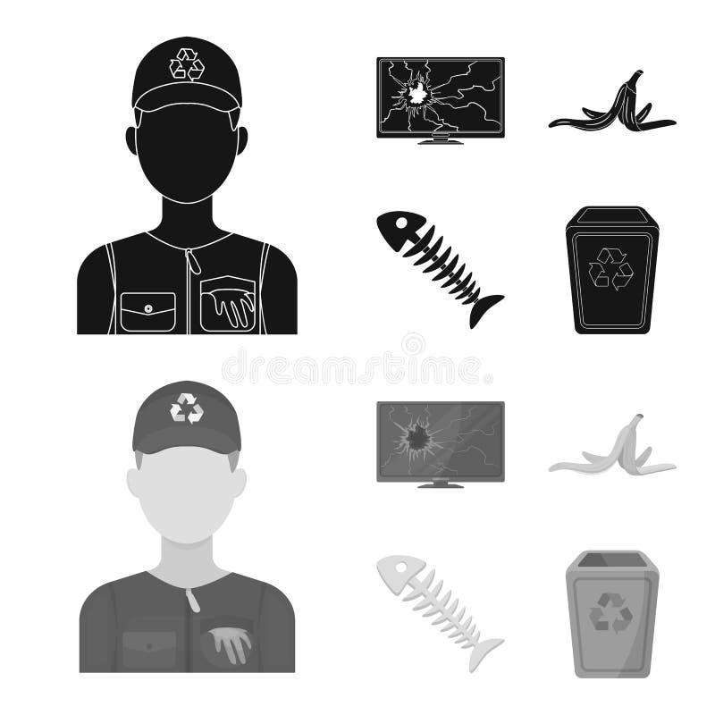 Bruten TVbildskärm, bananpeel, fiskskelett, avskrädefack Fastställda samlingssymboler för avskräde och för avfall i svart, monokr stock illustrationer