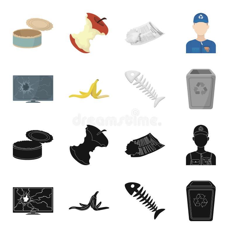 Bruten TVbildskärm, bananpeel, fiskskelett, avskrädefack Fastställda samlingssymboler för avskräde och för avfall i svart, teckna stock illustrationer