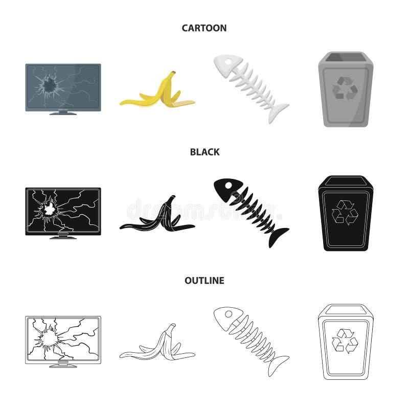 Bruten TVbildskärm, bananpeel, fiskskelett, avskrädefack Fastställda samlingssymboler för avskräde och för avfall i tecknade film vektor illustrationer