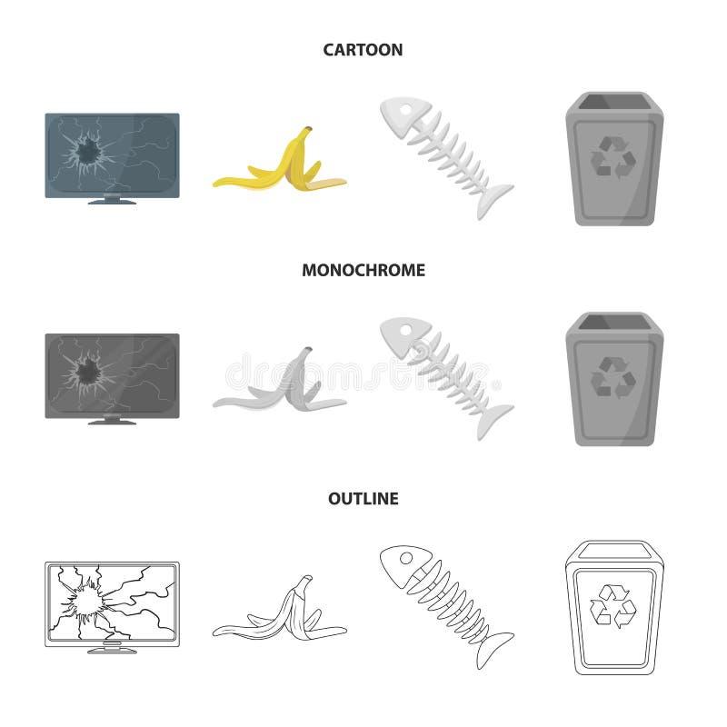 Bruten TVbildskärm, bananpeel, fiskskelett, avskrädefack Fastställda samlingssymboler för avskräde och för avfall i tecknade film stock illustrationer
