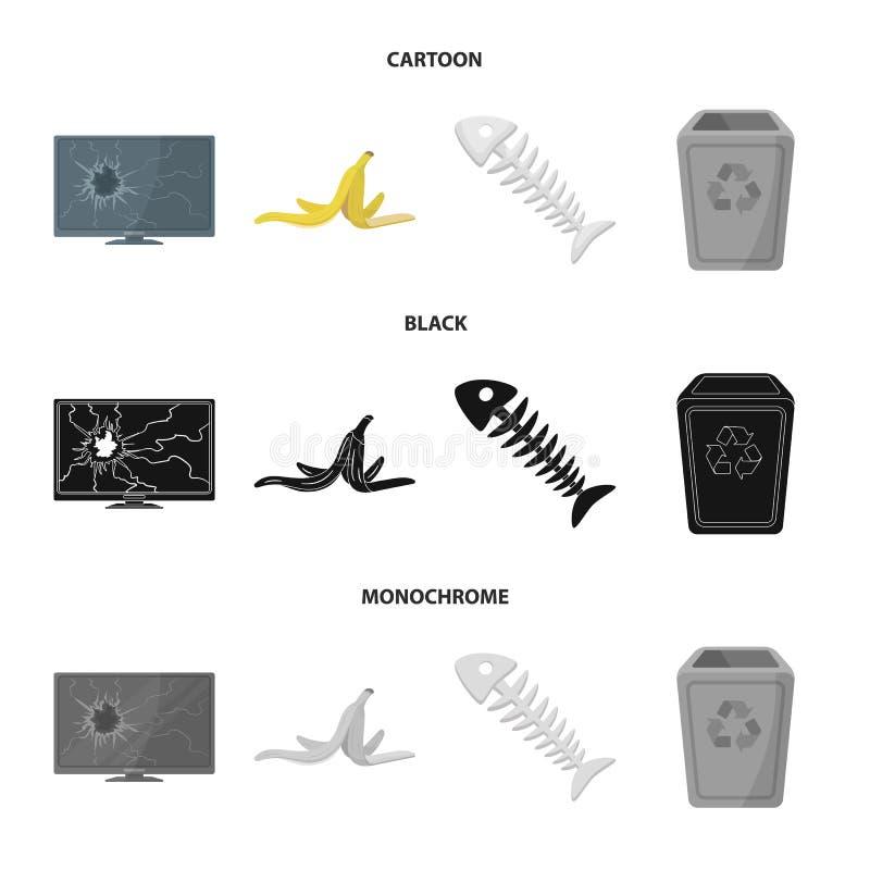Bruten TVbildskärm, bananpeel, fiskskelett, avskrädefack Fastställda samlingssymboler för avskräde och för avfall i tecknade film royaltyfri illustrationer