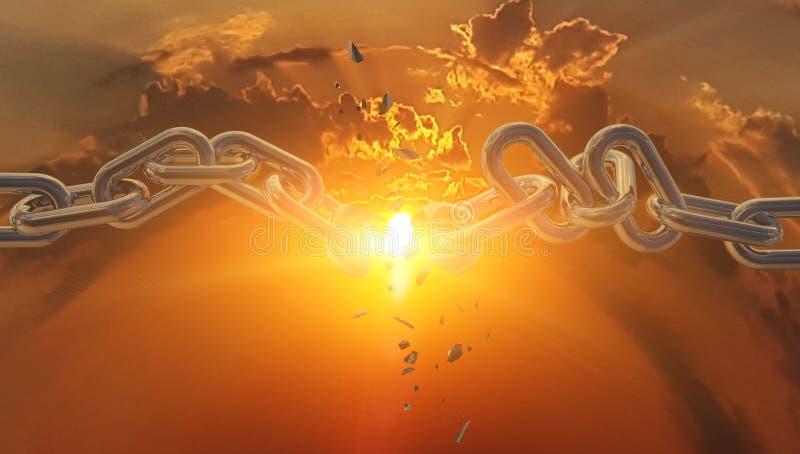 Brutet av delen i en sol för kedjehimmelsolnedgång royaltyfri foto