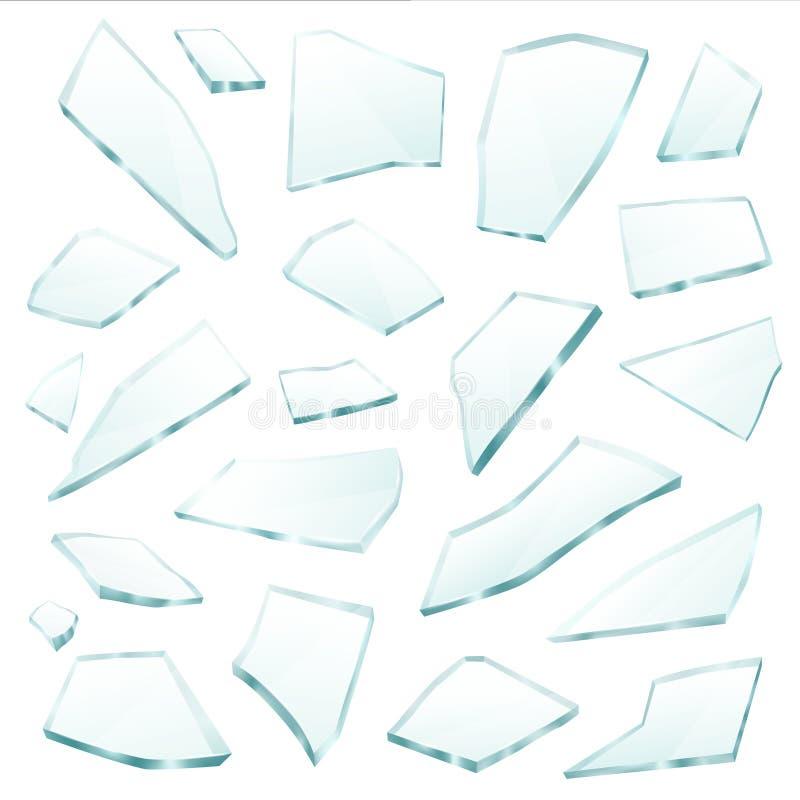 Brutet exponeringsglas fragmenterar den realistiska uppsättningen för skärvor vektor illustrationer