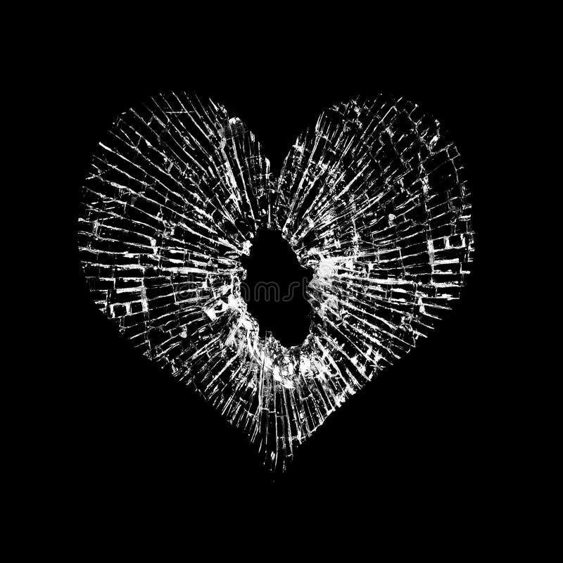 Brutet exponeringsglas i formen av hjärta på svart bakgrund royaltyfri fotografi