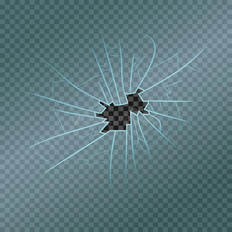 Brutet exponeringsglas med det realistiska fragment, sprickor och hålet Skadat fönster vektor royaltyfri illustrationer