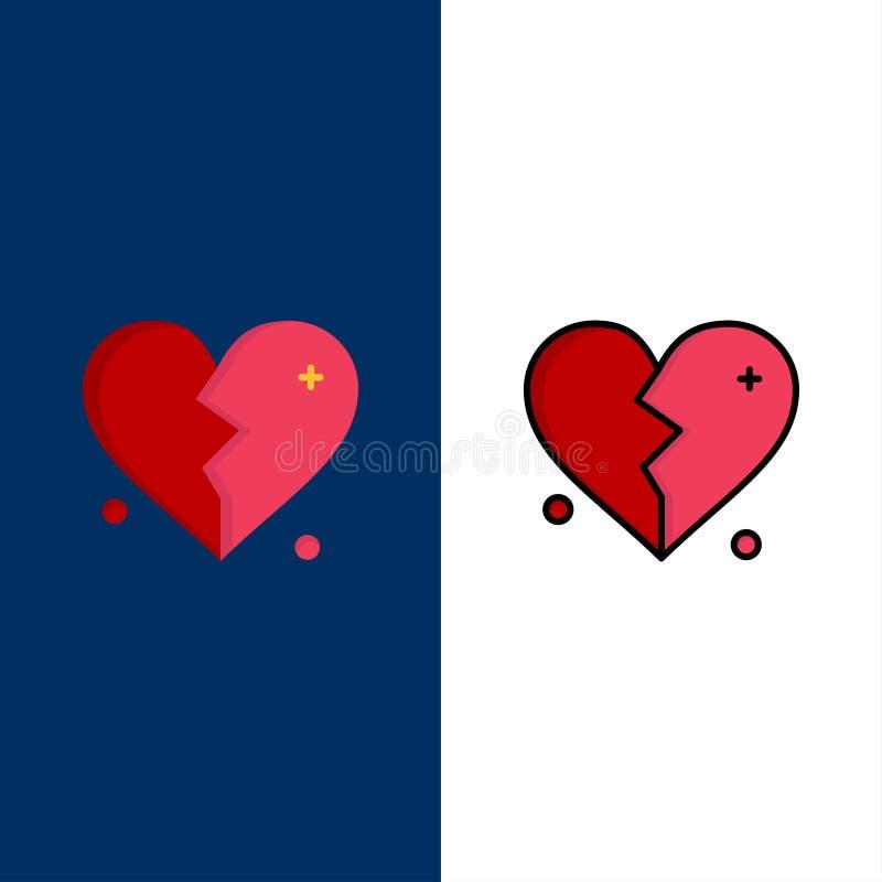 Brutet förälskelse, hjärta, bröllopsymboler Lägenheten och linjen fylld symbol ställde in blå bakgrund för vektorn vektor illustrationer