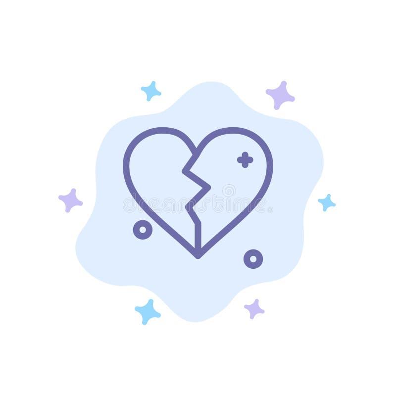 Brutet förälskelse, hjärta som gifta sig den blåa symbolen på abstrakt molnbakgrund stock illustrationer