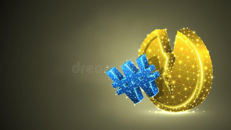 Brutet mynt, sydkoreansk segrad valuta Pengar instabil finans, marknadskrasch, brutet cirkelbegrepp Abstrakt digitalt royaltyfri illustrationer