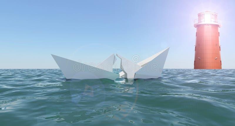 Brutet pappers- fartyg i havet royaltyfri bild