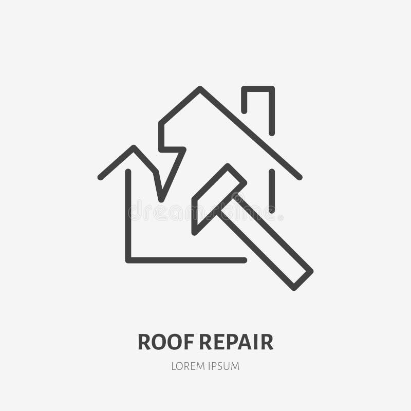 Brutet tak som framlänges taklägger linjen symbol Huskonstruktionstecken Tunn linjär logo för hem- reparationsservice vektor illustrationer