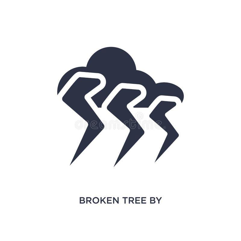brutet träd vid åskasymbolen på vit bakgrund Enkel beståndsdelillustration från meteorologibegrepp royaltyfri illustrationer