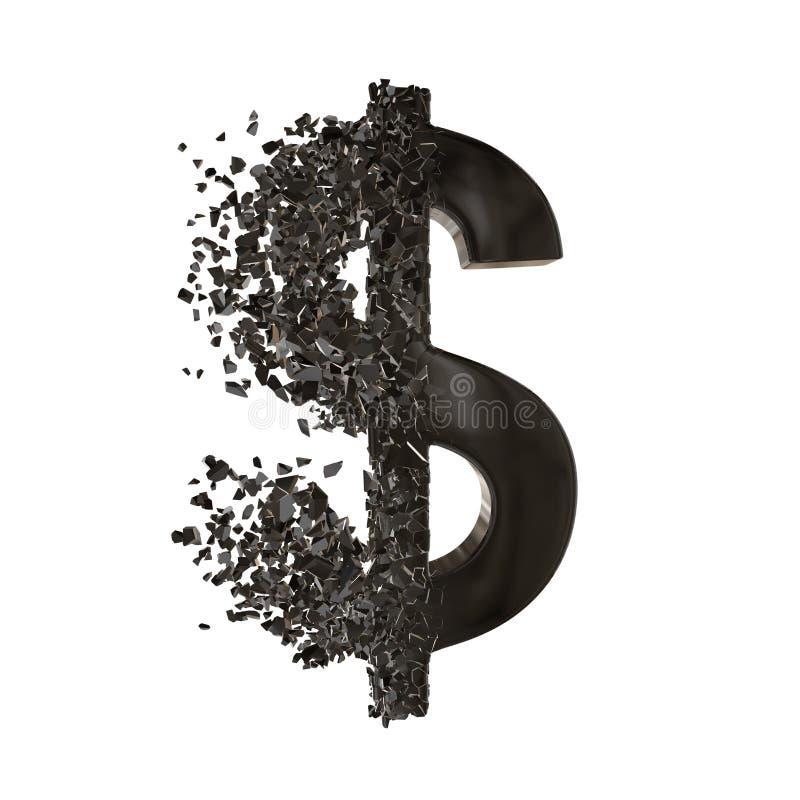 Brutit dollartecken 3d stock illustrationer