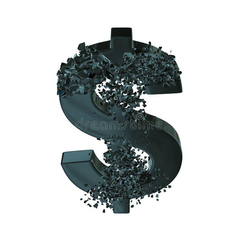 Brutit dollartecken 3d royaltyfri illustrationer