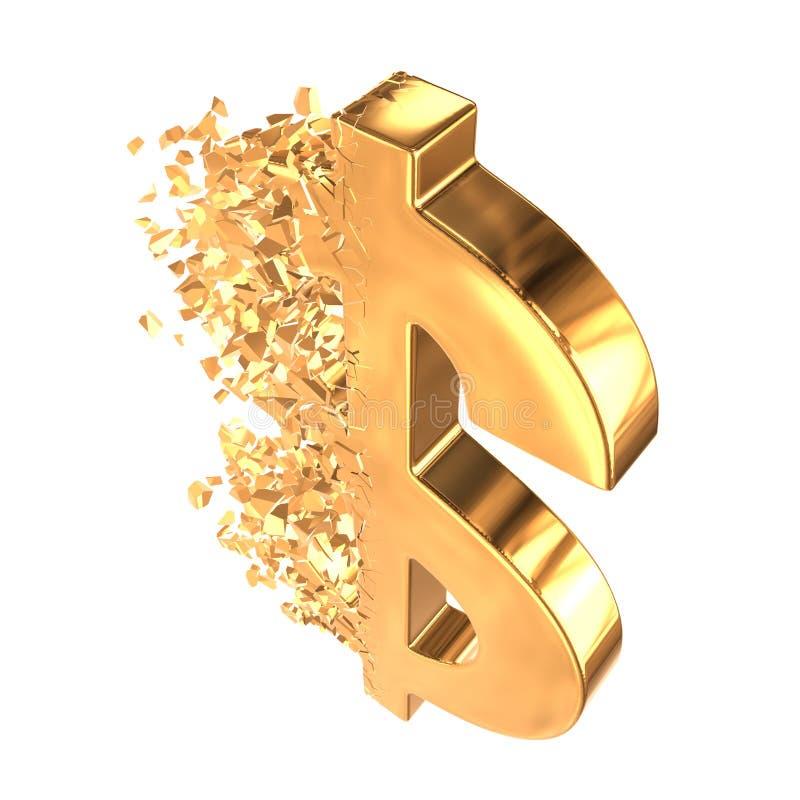 Brutit guld- dollartecken 3d vektor illustrationer