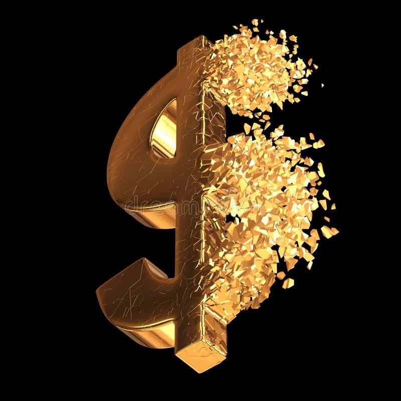 Brutit guld- dollartecken 3d royaltyfri illustrationer