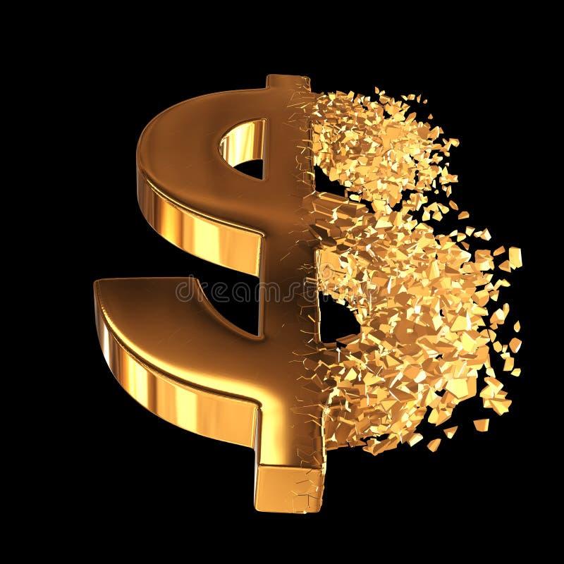 Brutit guld- dollartecken 3d stock illustrationer