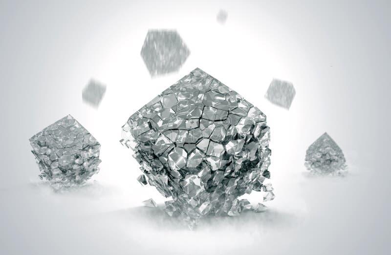 Brutna kristaller stock illustrationer