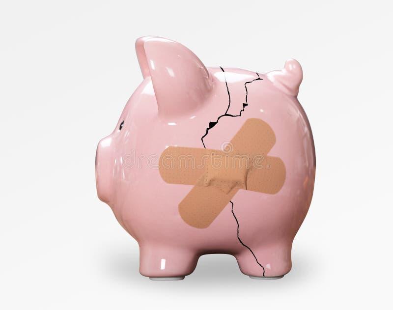 Brutna rosa Piggybank med förbinder royaltyfri bild