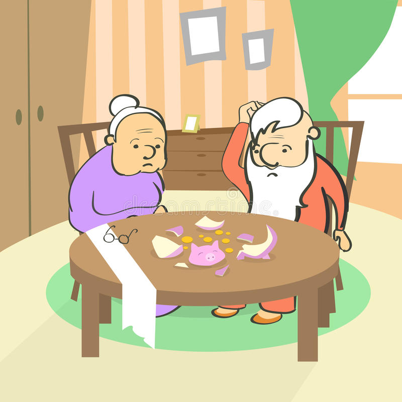 Brutna spargrisbesparingar för gamla par inga pengar royaltyfri illustrationer