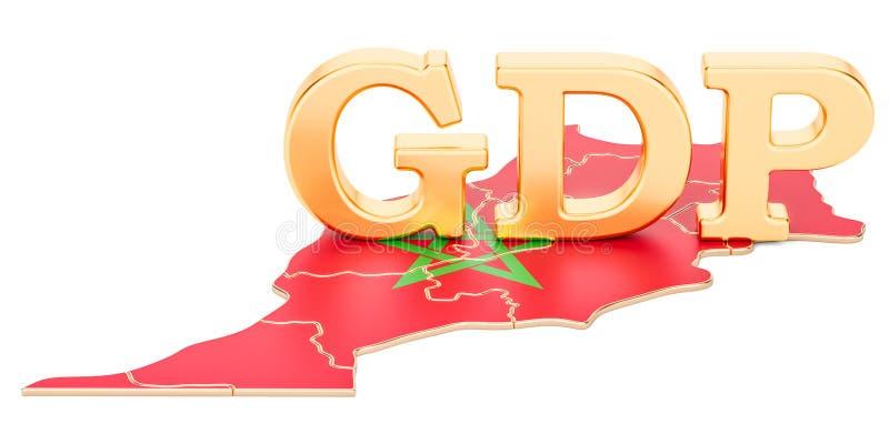 Brutobinnenlands product het BBP van het concept van Marokko, het 3D teruggeven vector illustratie