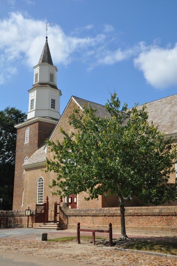 Bruton Parish Episcopal Church i Williamsburg, Virginia arkivbild