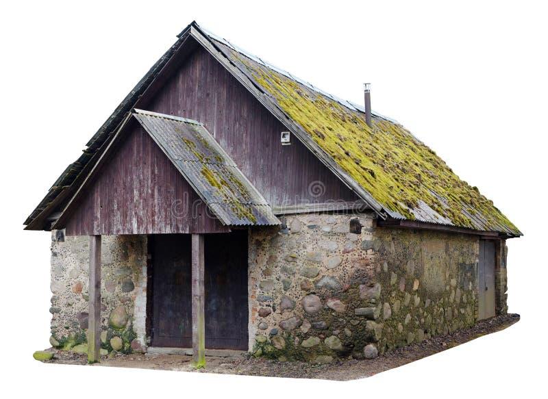 Brutto nessuna tettoia rurale d'annata della foresta di legno del nsme per stoccaggio del fi fotografia stock libera da diritti