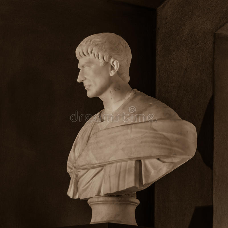 Brutus (85-43 BC). POLAND, POZNAN - 23 DEC 2014: Brutus (85-43 BC) intentional portrait (16th c ?), bust 225-250 marble, captured at Raczynski Museum, left royalty free stock photo
