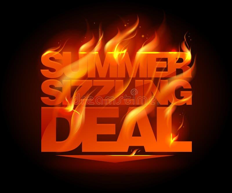 Brutzelndes Abkommendesign des brennenden Sommers lizenzfreie abbildung