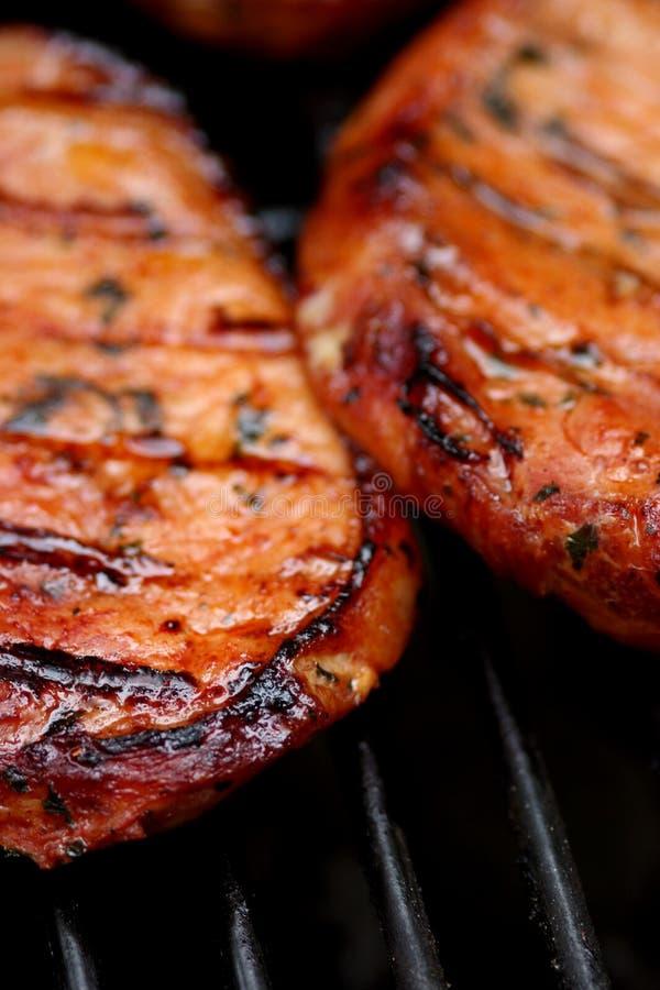 Brutzelndes heißes Fleisch stockbild