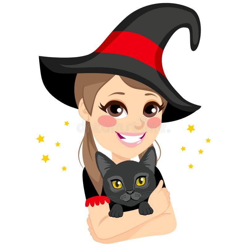 Bruxa adolescente que abraça o gato preto ilustração royalty free