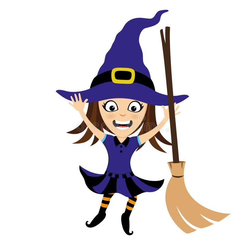 Bruxa alegre com uma vassoura ilustração do vetor