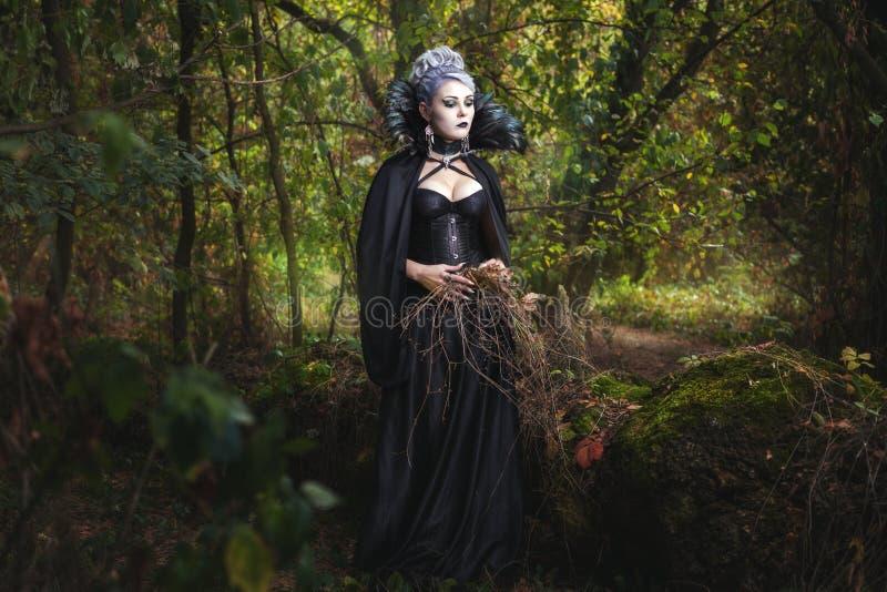Bruxa assustador da menina na floresta fotos de stock royalty free