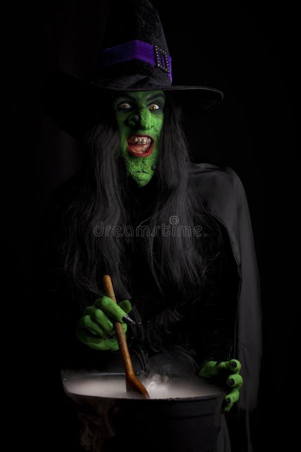 Bruxa assustador que agita seu caldeirão fotografia de stock
