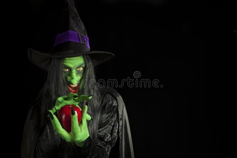 Bruxa assustador que prende uma maçã. fotografia de stock
