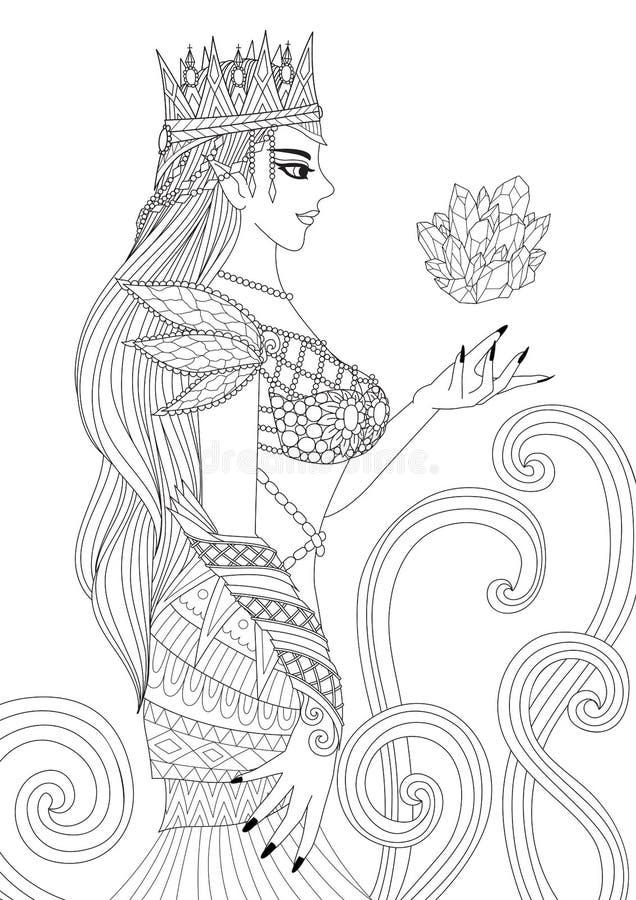 Bruxa bonita da rainha que faz a magia negra para páginas do livro para colorir para o anti elemento do esforço e do projeto para ilustração stock