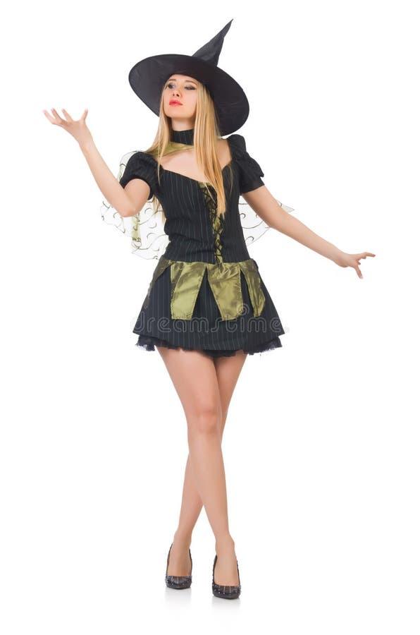 Bruxa bonita no vestido preto isolado no branco imagens de stock royalty free
