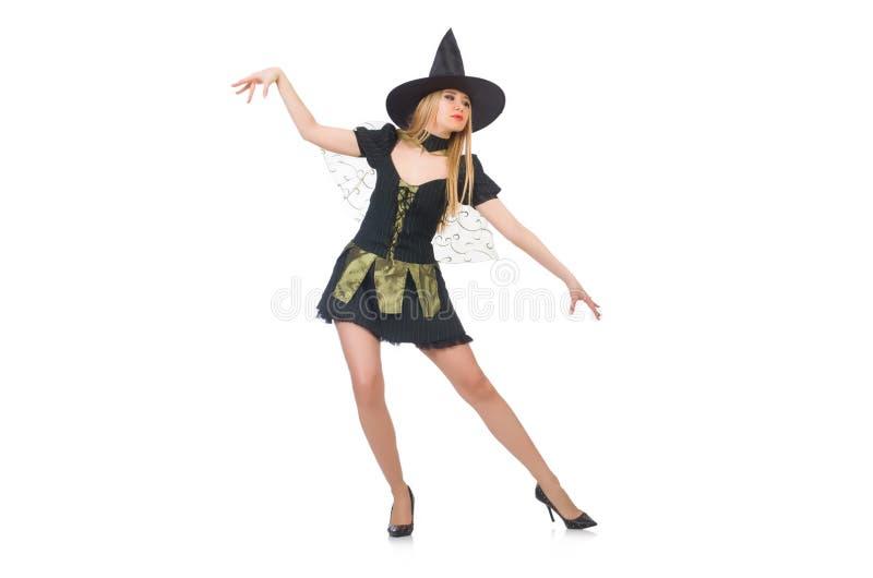 Bruxa bonita no vestido preto no branco imagem de stock royalty free