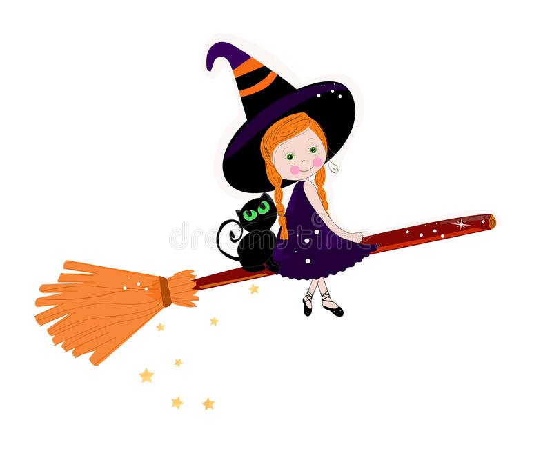 Bruxa bonito com fundo feliz do Dia das Bruxas dos gatos ilustração royalty free
