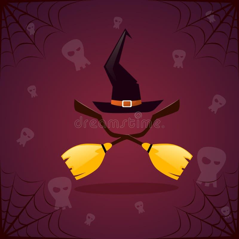 Bruxa Broomstirck da silhueta e bandeira feliz de Dia das Bruxas do chapéu ilustração royalty free