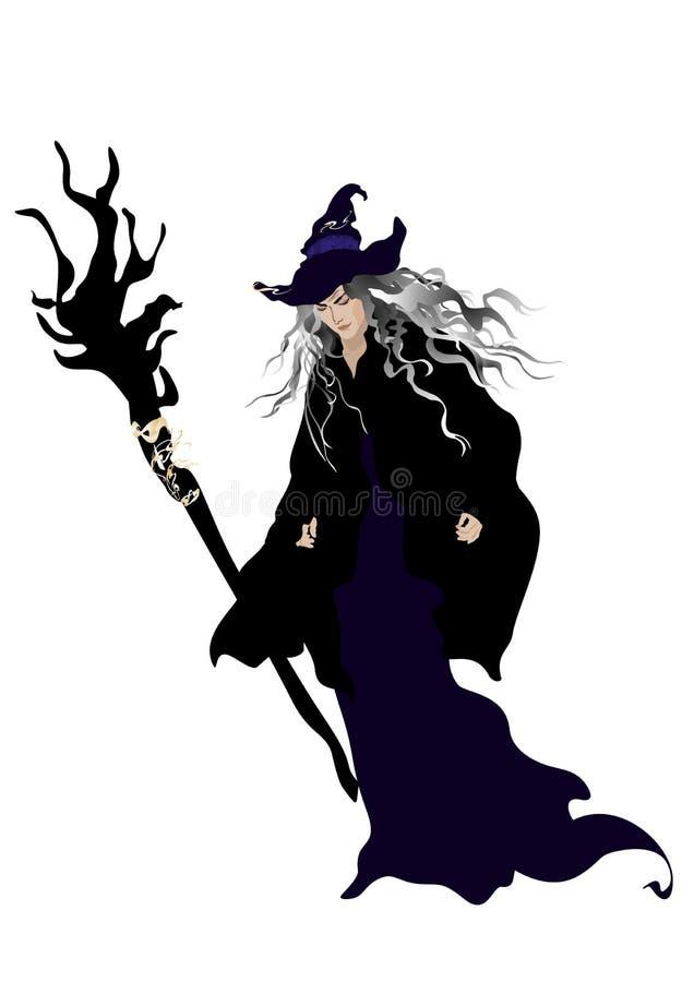 Bruxa com chapéu e vassoura ilustração royalty free
