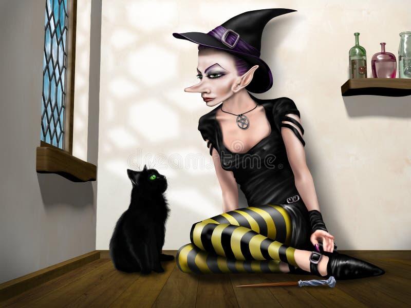 Bruxa com seu familiar ilustração do vetor