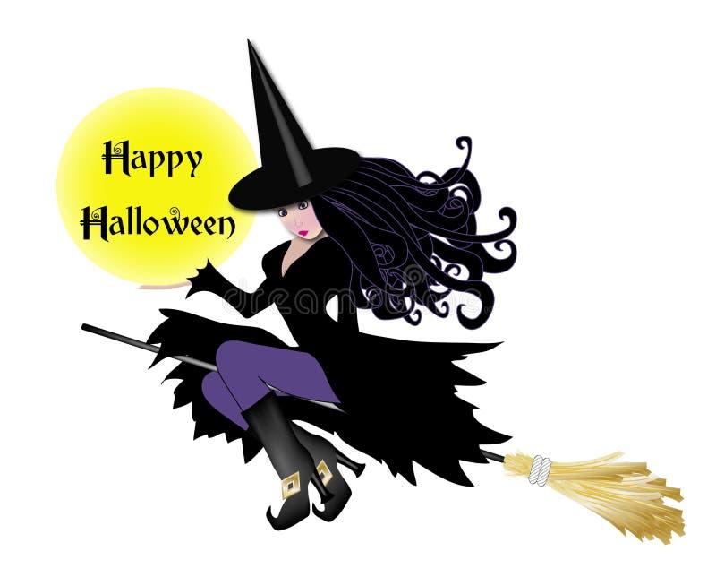 Bruxa com sinal de Halloween ilustração do vetor