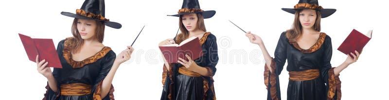 A bruxa com a varinha e o livro isolados no branco imagem de stock royalty free