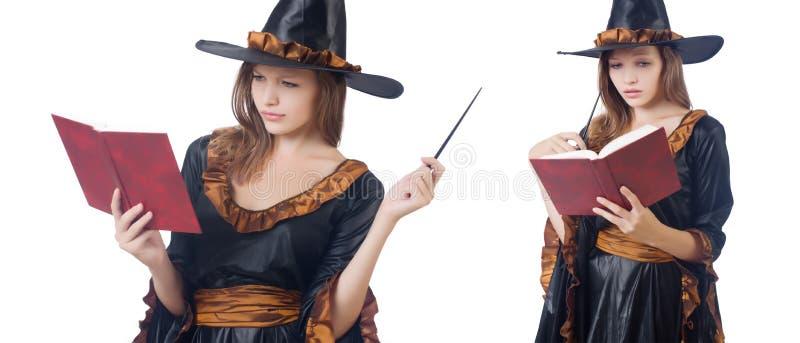 A bruxa com a varinha e o livro isolados no branco fotografia de stock