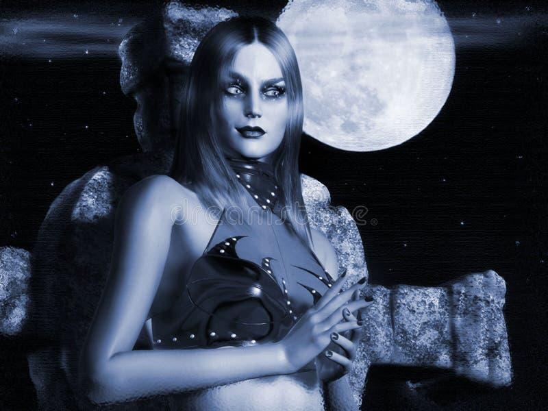 Download Bruxa da lua azul ilustração stock. Ilustração de azul - 80101956